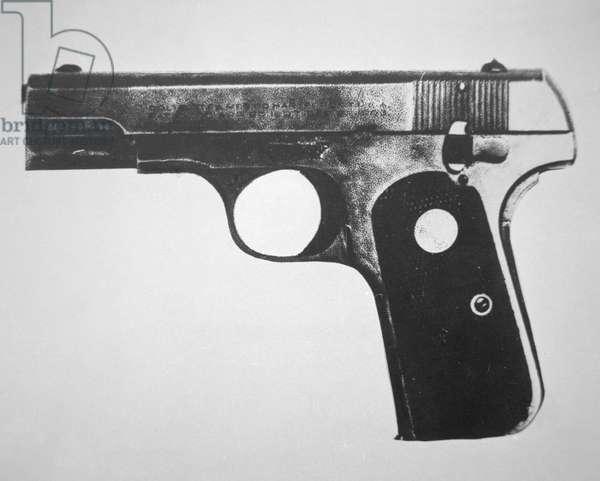 John Dillinger's pistol, 1934 (b/w photo)