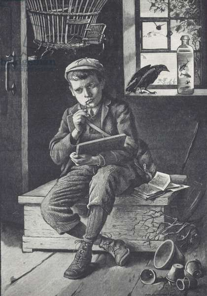 Schoolboy puzzling over work, 1895 (engraving)