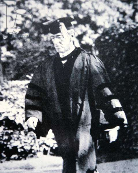 Woodrow Wilson (1856-1924) in academic robes (b/w photo)