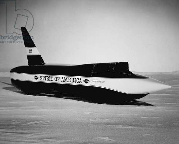 Craig Breedlove's jet car 'Spirit of America', 1965 (b/w photo)