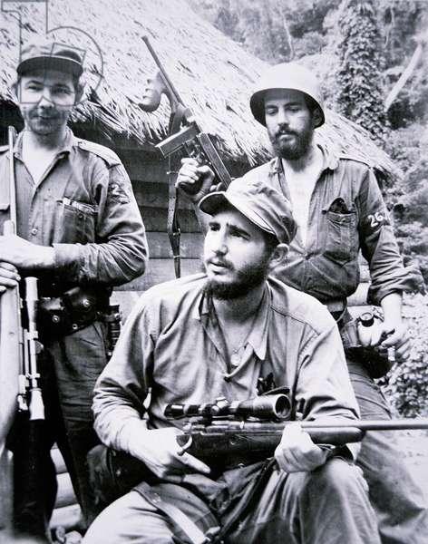 Fidel Castro in the Sierra Maestra Mountains, 1957 (b/w photo)