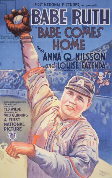 Film poster for 'Babe Comes Home', starring Babe Ruth, 1927 (colour litho)