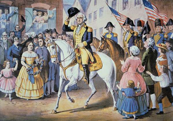 George Washington enters New York City 25 November, 1783 after the evacuation of British forces (colour litho)