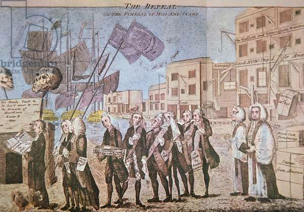 The Repeal, or the Funeral Procession of Miss Ame-Stamp', 1766 (coloured engraving)