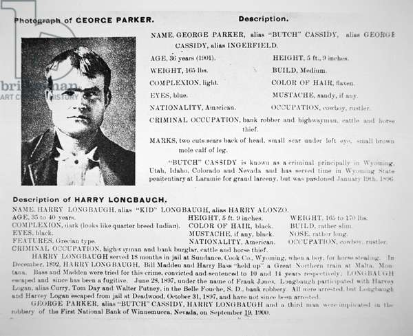 Pinkerton National Detective Agency File for 'Butch Cassidy' (1866-1908/09) and the 'Sundance Kid' (b.1867) (litho)