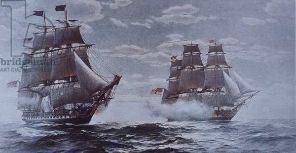 USS Constitution and HMS Java (colour litho)