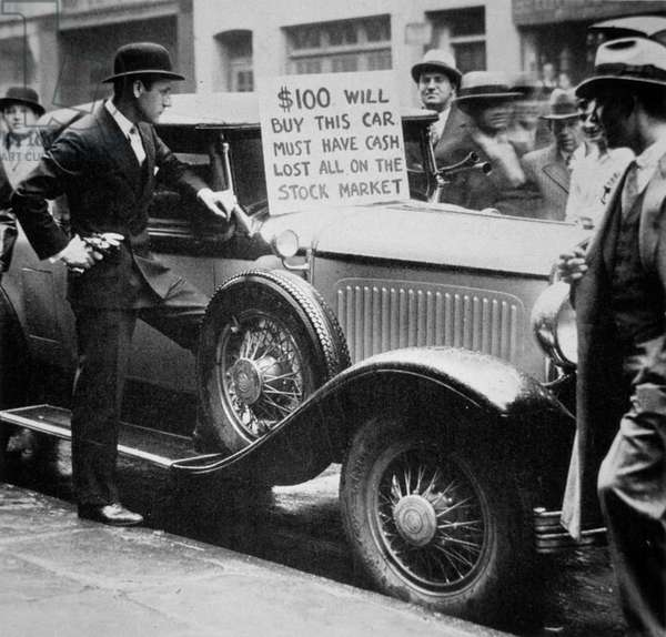 Man selling his car, following the Wall Street Crash of 1929, 1929 (b/w photo)