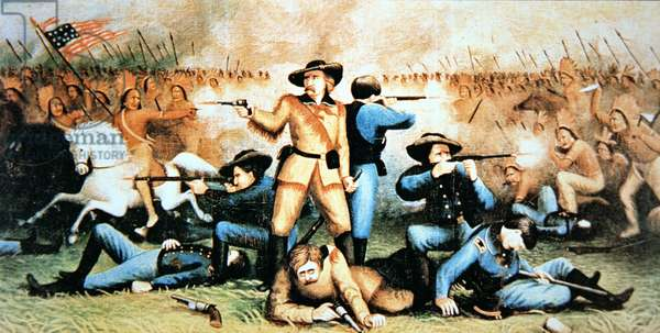 Custer's last stand at the Battle of Little Bighorn, 25th June, 1876 (colour litho)