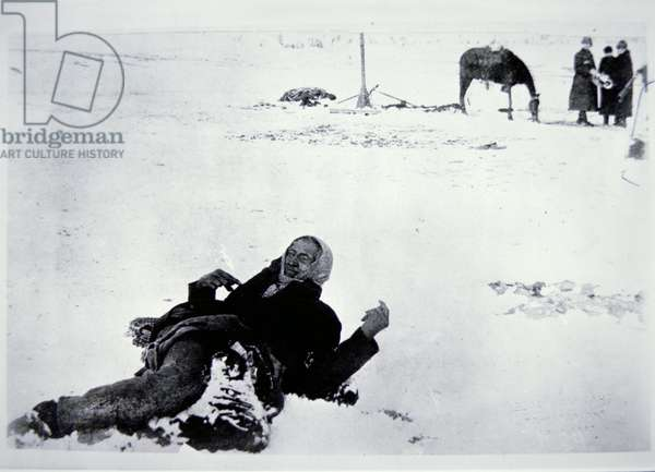 The frozen body of Chief Big Foot (d.1890) after the Wounded Knee Massacre of 29th December 1890 (b/w photo)