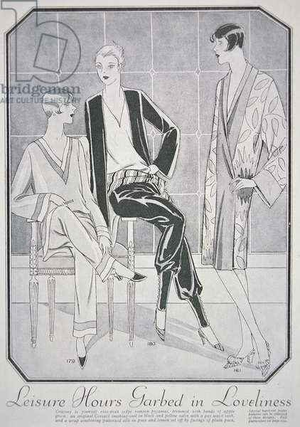 Fashion advert for lounging pyjamas, cossack smoking suit and bath wrap, from Woman's Journal, January 1928 (litho)