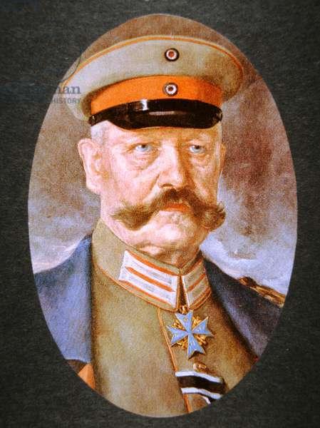 German Field Marshal Paul von Hindenburg (colour litho)