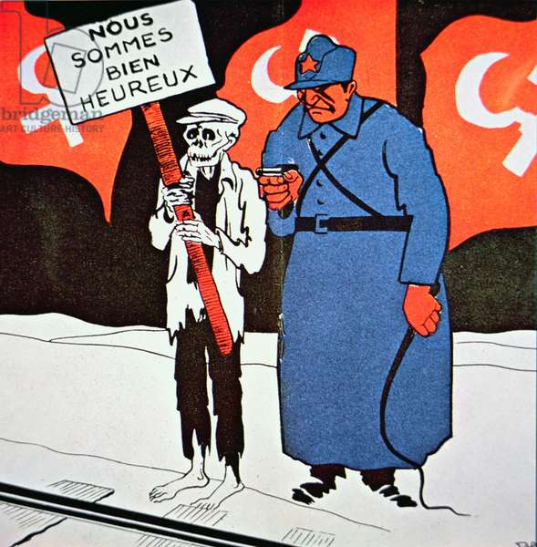 French cartoon about the Soviet Union, 1935 (colour litho)