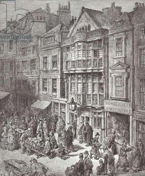 Busy London street market (engraving)
