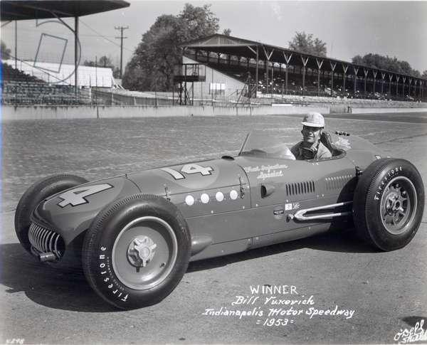 Bill Vukovich, winner of the Indianapolis 500 Mile Race, 1953 (b/w photo)