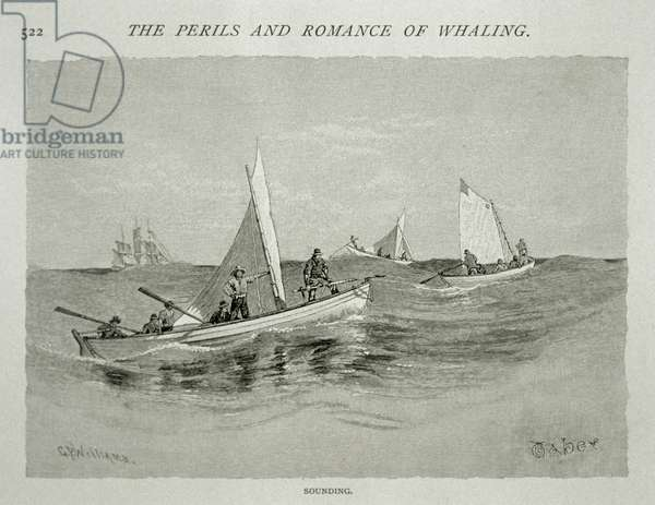 'Sounding' (small boat crews with hand harpoons make ready for the hunt), for 'The Perils and Romance of Whaling' in Century Magazine, June 1890 (engraving)