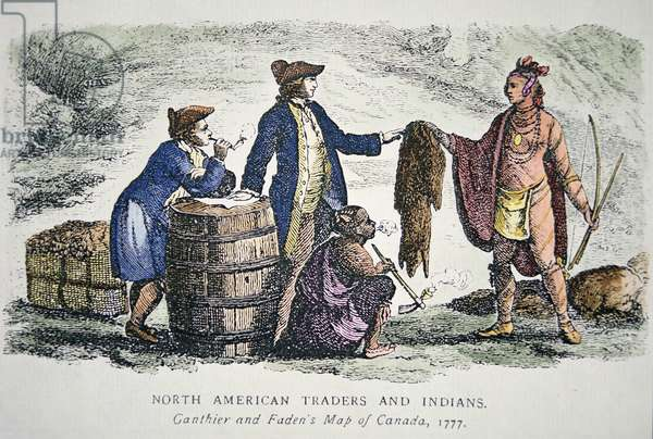 Native American trading furs, 1777 (coloured engraving)