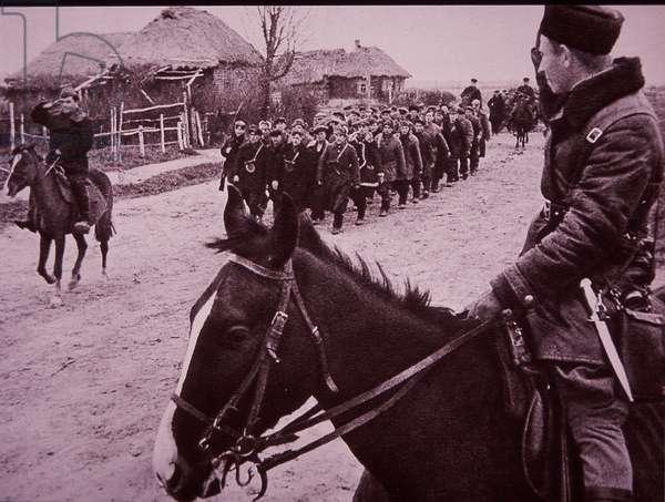Eastern Front WW2, Russian partisans, parade of Kletnyanskaya Brigade of Smolensk area, 1940s (b/w photo)