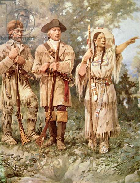 Lewis and Clark with Sacagawea (colour litho) (detail)