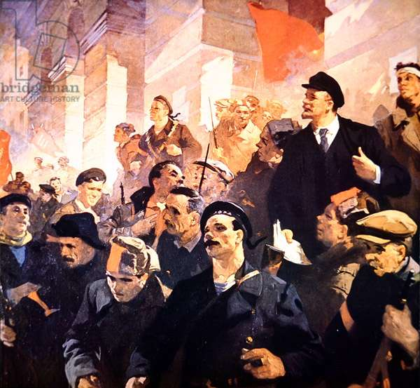 First day of Soviet rule (colour litho)