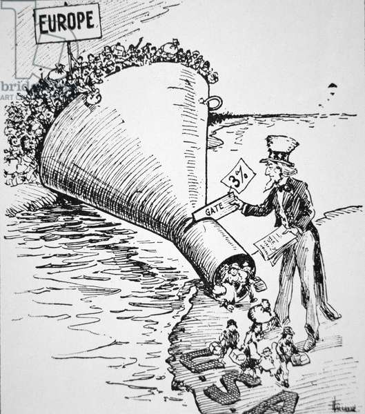 Cartoon on the popular reduction of immigrants to the United States, 1914 (litho)