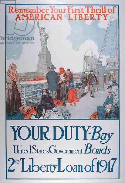 American War Bonds Poster, 1917 (colour litho)