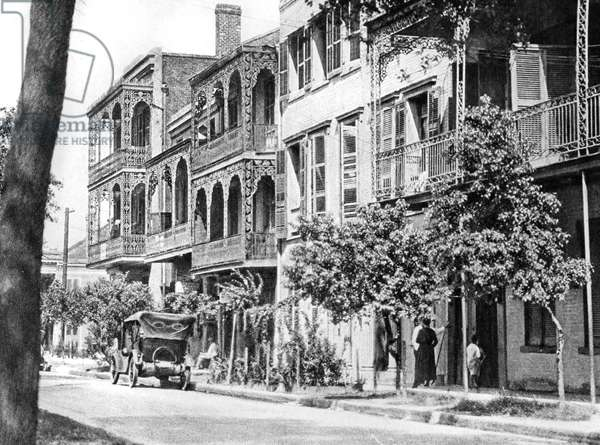 Street of balconies in the Vieux Carre, New Orleans, 1925 (b/w photo)