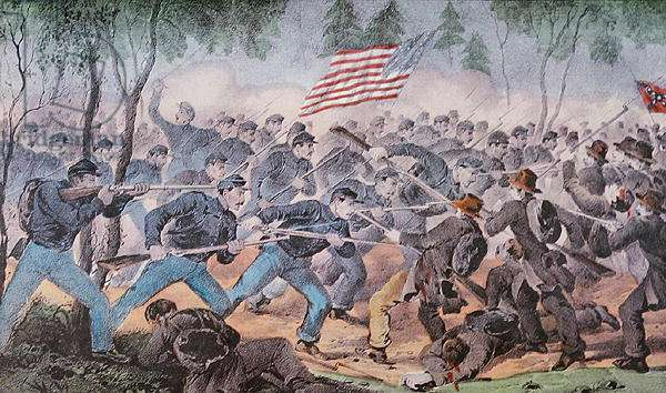 Battle of Spottsylvania, Virginia, 12th May 1864 (colour litho)