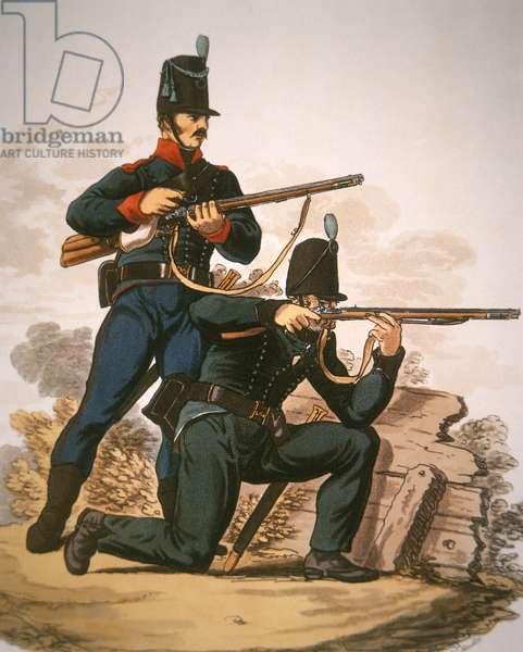 British Riflemen, 1813 (colour litho)