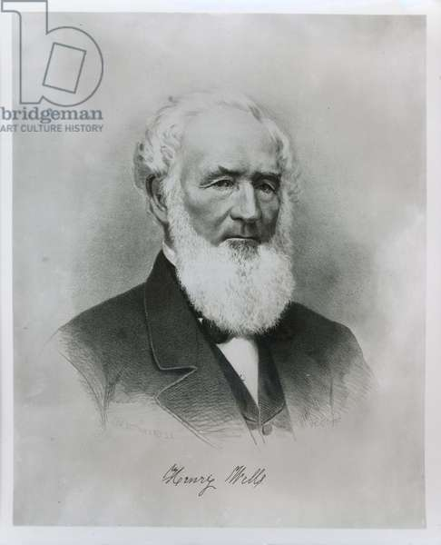 Portrait of Henry Wells (1805-78) co-founder of Wells Fargo & Co. (litho)