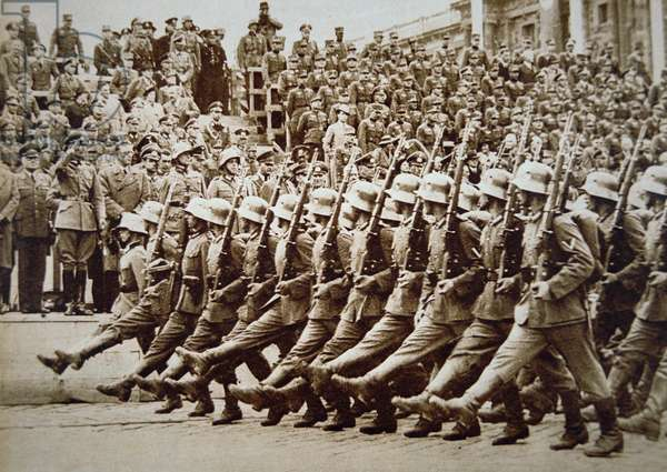 German Army Parade, Vienna, 1938 (sepia photo)