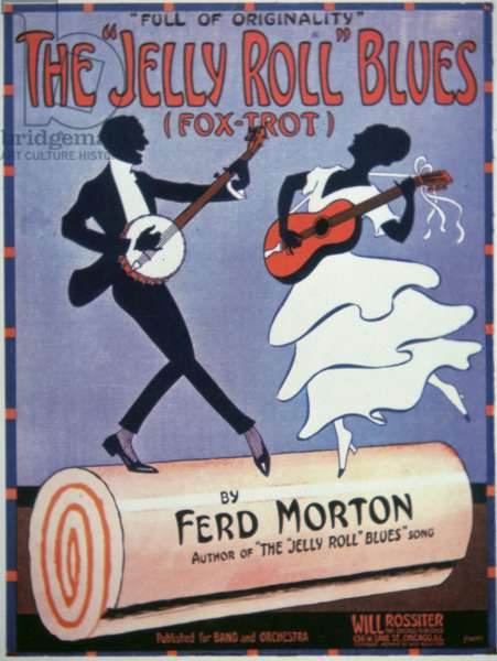Front Cover for 'The Jelly Roll Blues', by Jelly Roll Morton (1890-1941) 1915 (colour litho)