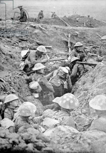 British troops in crude roughly-dug trenches await the signal to attack in the Third Battle of Ypres, 30th October 1917 (b/w photo)