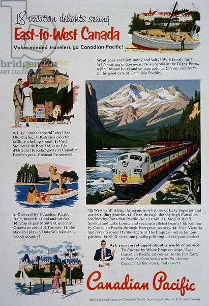 Canadian Pacific Railway Advert featuring Vacation Destinations, 1952 (colour litho)
