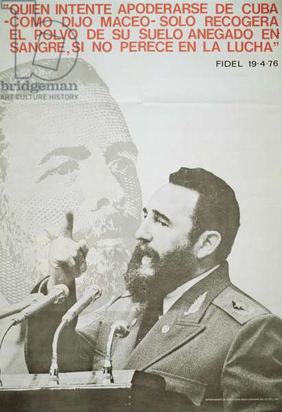 Poster featuring Fidel Castro, 1976 (colour litho)