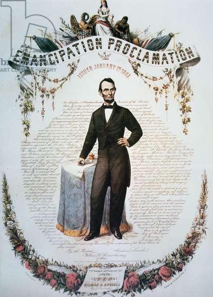 Final Emanciaption Proclamation Souvenir Card, 1863 (colour litho)