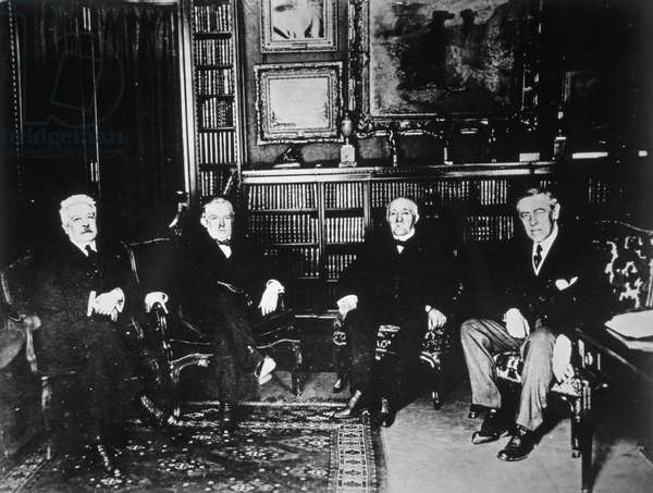 The Big Four at the Paris Peace Conference, 1919 (b/w photo)