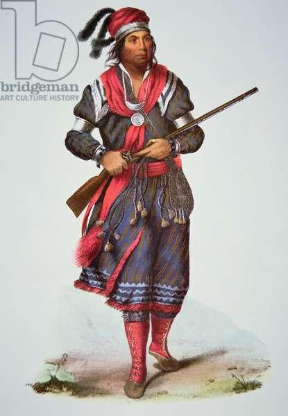 Chief Tukosee Mathla, 1826 (colour litho)