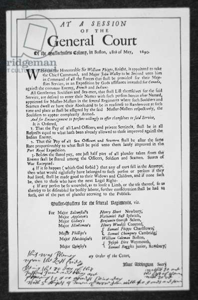 A recruiting poster issued by the General Court of Massachusetts calling for volunteers to join the expedition led by Sir William Phips against the French fortress of Quebec, 1690 (litho)