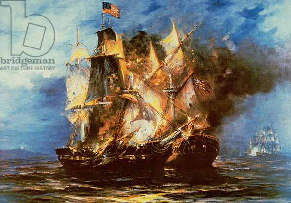 John Paul Jones, commanding the Bonhomme Richard, defeats HMS Serapis off Flamborough Head, England, on 23rd September 1779 (oil on canvas)