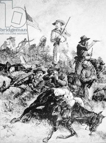 Illustration of the Battle of Little Bighorn, 25th June, 1876 (litho)