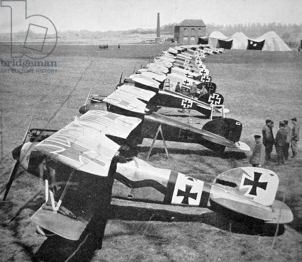 German aircraft on the Western Front, July 1917 (b/w photo)