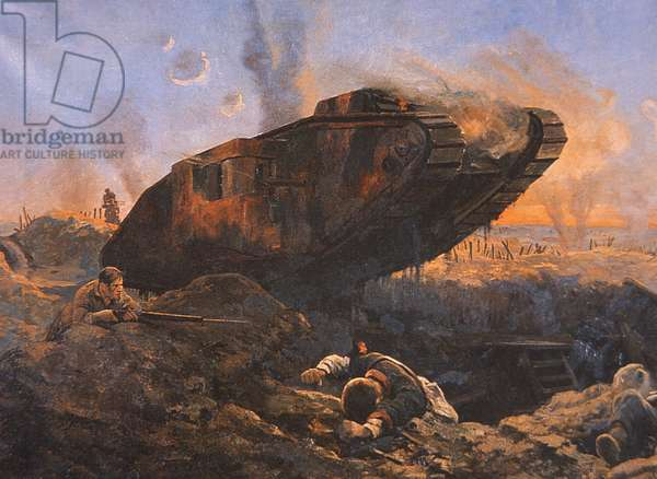 WWI British Tank in Action on the Western Front, 1914-18 (colour litho)