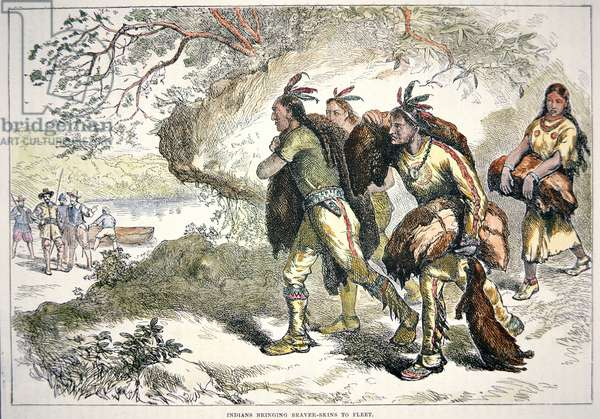 Colonial Fur Traders (coloured engraving)