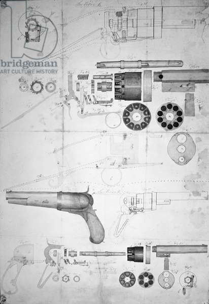 Original plans for a ten-chamber revolver which later became the six-chamber patented in 1836, c.1830 (pen & ink on paper)