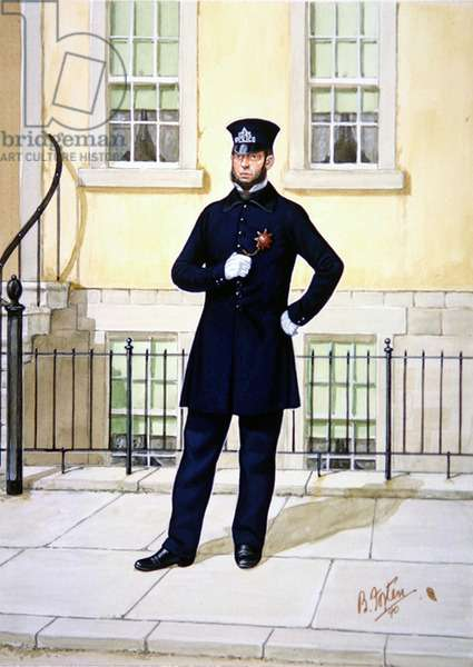 Police Officer in 1853, 1990 (colour litho)