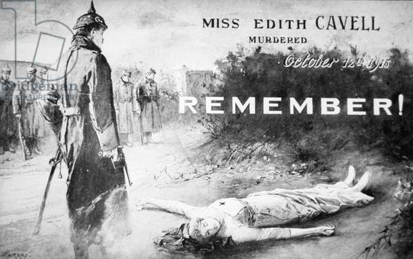 Edith Cavell postcard, published shortly after her execution by the Germans on 12th October 1915 (litho)