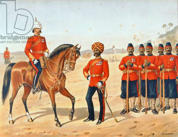 The Queen's Own Madras Sappers and Miners, Review Order, Anglo-Indian Army of the 1880s (colour litho)