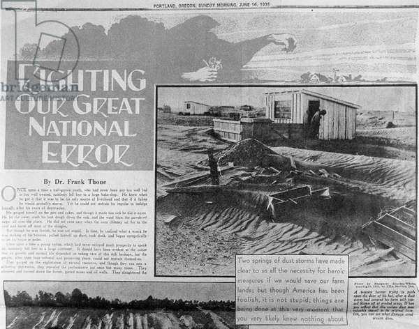'Righting our great national error', poster produced during the The Dust Bowl, June 16, 1935 (litho)