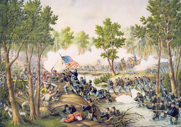 Battle of Spottsylvania, May 1864, engraved by Kurz & Allison, 1885 (colour litho)