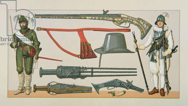 French soldiers and firearms of the 17th century (colour litho)